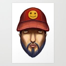 Bearded Man With a Red Cap Yellow Smiley Art Print