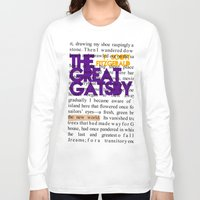 fitzgerald Long Sleeve T-shirts featuring The Great Gatsby - F. Scott Fitzgerald / Book Cover Art Poster  by FunnyFaceArt
