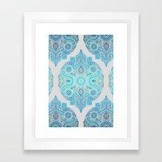 Through Ocean & Sky - turquoise & blue Moroccan pattern Framed Art Print