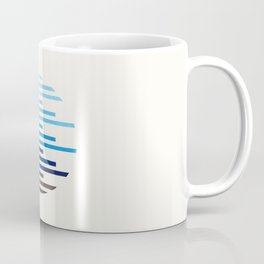 Mid Century Modern Minimalist Circle Round Photo Prussian Blue Staggered Stripe Pattern Coffee Mug