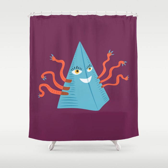 Weird Blue Pyramid Character With Tentacles Shower Curtain by ...