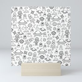 Space Print, Black and White pattern, Alien Illustration, Outer Space, Rocket Ship Mini Art Print