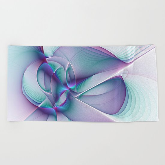 A Colorful Beauty, Abstract Fractal Art Beach Towel