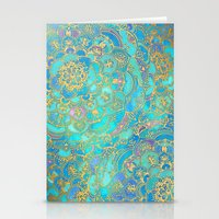 metallic Stationery Cards featuring Sapphire & Jade Stained Glass Mandalas by micklyn