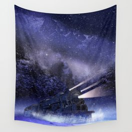 Snowy Night Train Wall Tapestry