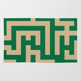 Tan Brown and Cadmium Green Labyrinth Rug