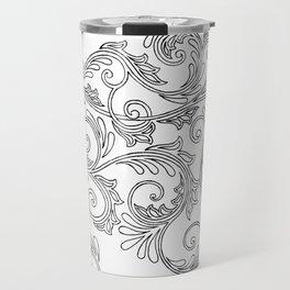 Black Floral Ornament Travel Mug