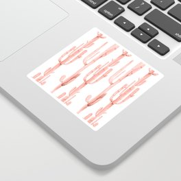 Pretty Coral Pink Cactus Pattern Sticker