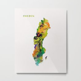Sweden Watercolor Map Metal Print