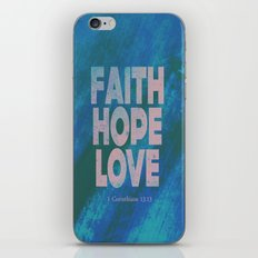 Faith,Hope,Love (Pink) iPhone & iPod Skin