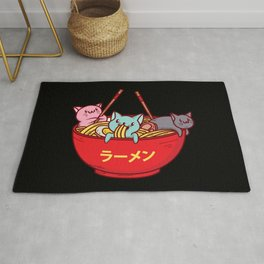 Kawaii Anime Cat Shirt - Funny Adorable Japanese Illustration Rug