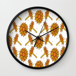 Hand Drawn Calendula Seamless Wall Clock