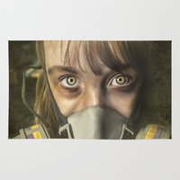 fallout Area & Throw Rugs featuring The day after - Survivor by BruceStanfieldArtist.DarkSide