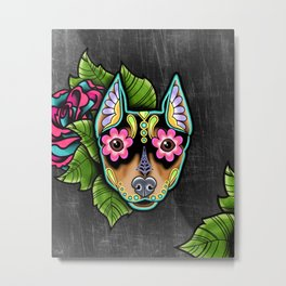 Min Pin Day of the Dead Miniature Doberman Pinscher Sugar Skull Dog Metal Print