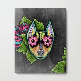 Min Pin Day of the Dead Miniature Doberman Pinscher Sugar Skull Dog Metal Print