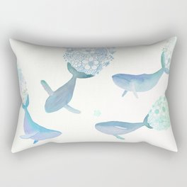 Whales playing in a floral ocean Rectangular Pillow