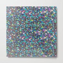 Sparkle Confetti Stars   Multi-color with Silver Tint   Metal Print
