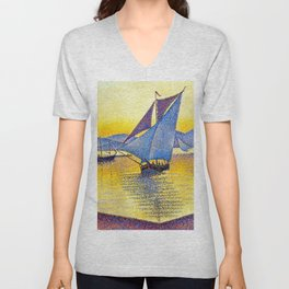 French Paul Signac - The Port at Sunset. Saint-Tropez Unisex V-Neck