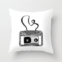 cassette Throw Pillows featuring Cassette by Virki