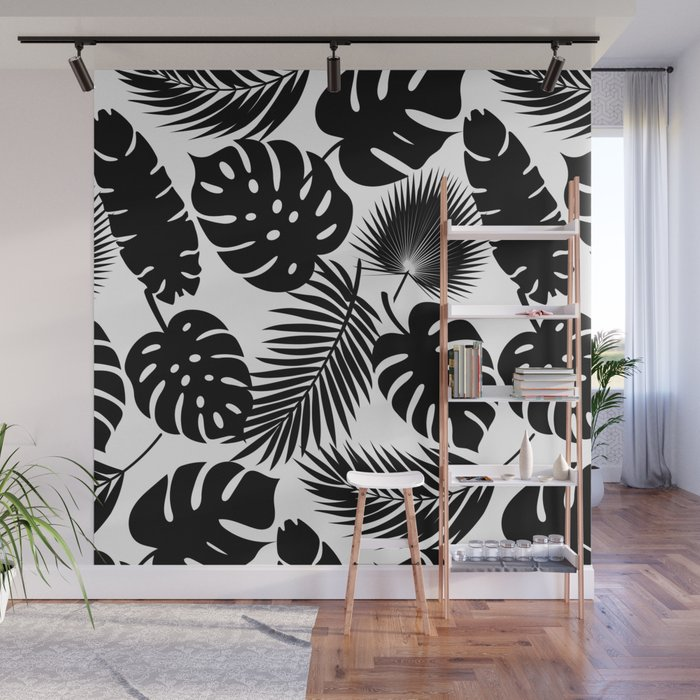 Tropical Leaves - Black on White Wall Mural