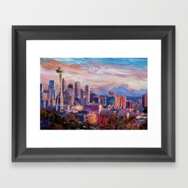 Seattle Skyline with Space Needle and Mt Rainier Framed Art Print