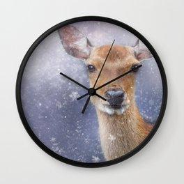 The Doe in Winter Wall Clock