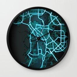 Kazan, Russia, Blue, White, Neon, Glow, City, Map Wall Clock