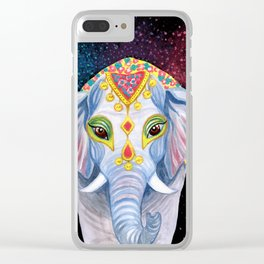 Indian Holi Elephant Watercolor and Acrylic Painting Clear iPhone Case