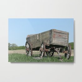 Abandoned Wooden Wagon in a Field Metal Print