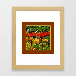 COFFEE BROWN YELLOW & ORANGE CROWN IMPERIALS GARDEN Framed Art Print