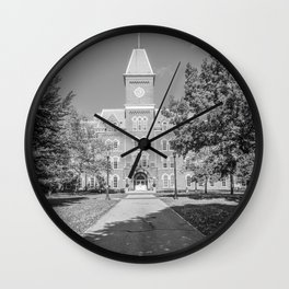 Ohio State Campus Vertical Black White Print Wall Clock