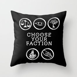 Divergent - Choose Your Faction (White) Throw Pillow