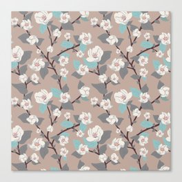 Delicate flowers and twigs with leaves and branches Canvas Print