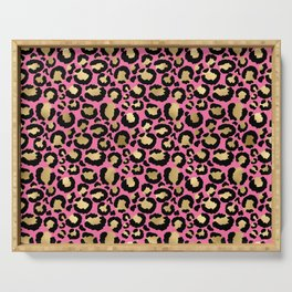 Pretty Pink & Gold Leopard Print Pattern Serving Tray
