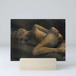 Julie Darling 0870 Rustic - Nude Nue ~ Textured Vintage  ~ Bodyscape of a Woman Mini Art Print
