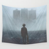 giants Wall Tapestries featuring Boy and the Giants by yurishwedoff