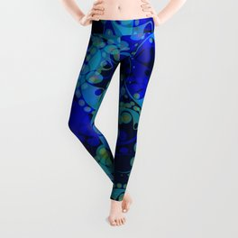 Spring pastels gently pearl and blue circles and ellipses with the image of abstract flowers on a da Leggings
