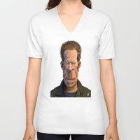 celebrity V-neck T-shirts featuring Celebrity Sunday ~ Tom Waits by rob art | illustration