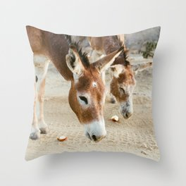 Two Donkeys Eating Apples Throw Pillow