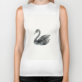 Elegant black white hand painted watercolor swan  Biker Tank