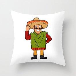 Cartoon happy Mexican Throw Pillow