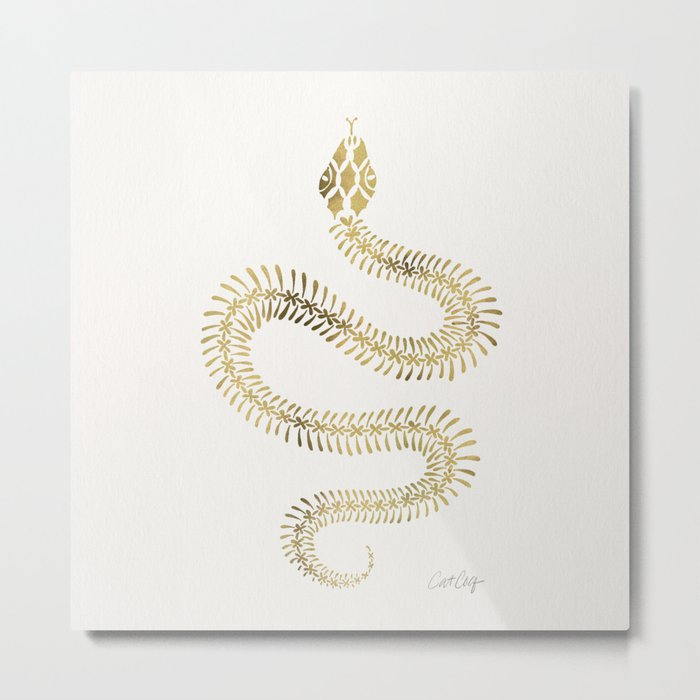 Snake Skeleton – Gold Metal Print