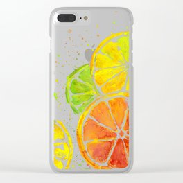 Fruit Watercolor Citrus Clear iPhone Case