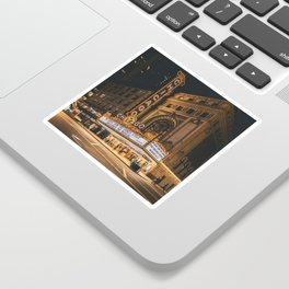 Golden Hour at The Chicago Theatre - Art Print Sticker