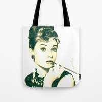 hepburn Tote Bags featuring My Hepburn by Thubakabra