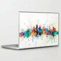 kansas city Laptop & iPad Skins featuring Kansas City Skyline by artPause