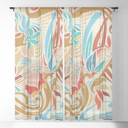 Abstract Florals Sheer Curtain