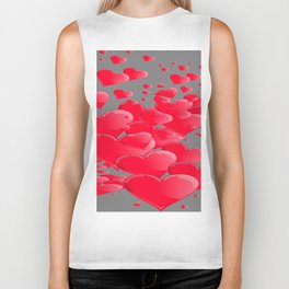 PINK CANDY VALENTINES HEARTS IN  GREY Biker Tank