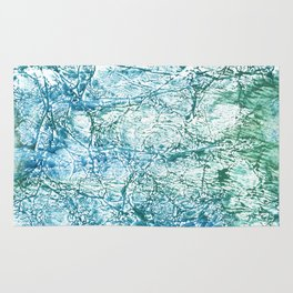 Green blue marble watercolor Rug