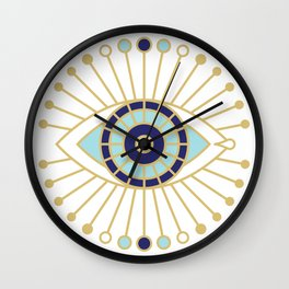 Evil Eye Collection on White Wall Clock